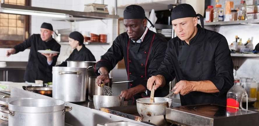 Employees, diners, food, kitchen